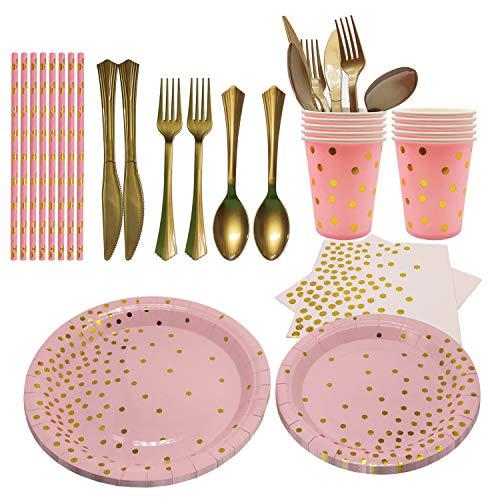 JJYHEHOT 95 Piezas Juego de Platos Deschables Fiesta con Vasos Papel, Cuchillos de Plástico,Tenedores de...