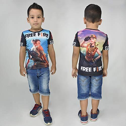 Camisa Camiseta Free Fire Juvenil Infantil Jogo Promoção (6, Preto)