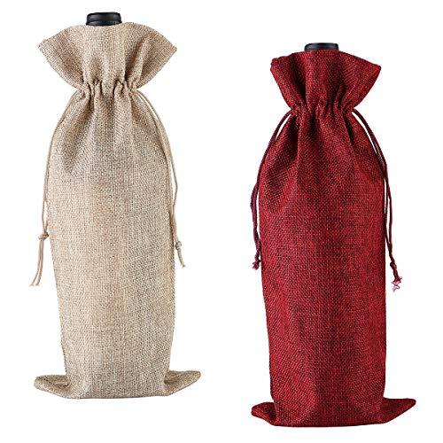N-A Bolsa de vino de arpillera, 2 unidades, reutilizables, bolsa de botella de licor para inauguración de la casa, regalos (rojo, color primario)