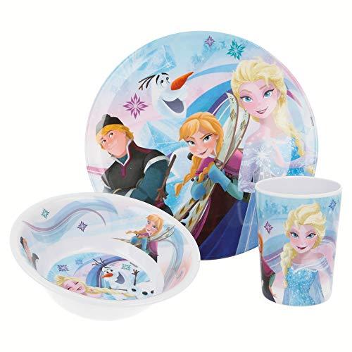 Stor - Set di 3 pezzi (piatto, scodella e bicchiere), diversi modelli disponibili (Disney, Frozen, LOL, Peppa Pig, Paw Patrol, ecc) FROZEN