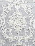 Lactraum Vorhang Wohnzimmer mit Ösen Weiß Tranparent Bestickt Vintage Klassische Voile (Dichte) 145 x 245cm - 3