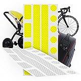 'N/A' Reflektoren Sticker 2er Set stark selbstklebend, 26 Stück Reflektor Aufkleber für Fahrrad Helm, Motorrad, Kinderwagen Buggy Zubehör, Anhänger, wetterfest und hochreflektierend (Gelb)