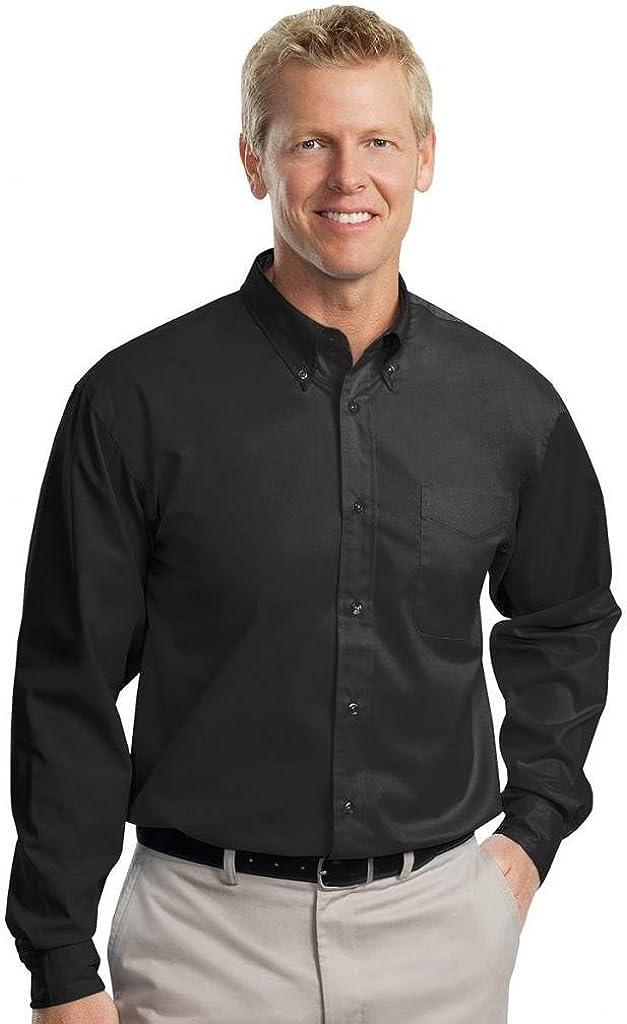 Port Authority - Tall Long Sleeve Easy Care Shirt-4XLT (Black/Light Stone)