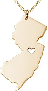 18K Gold Silver Country Map Charm Pendant New Jersey State Map Necklace Jewelry