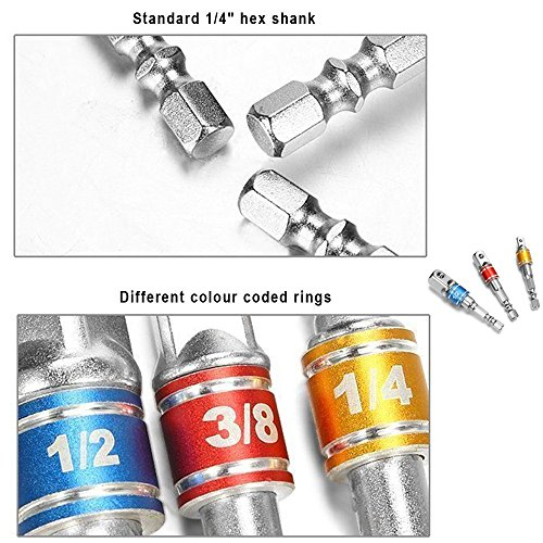 Impact Grade Socket Adapter/Extension Set Turns Power Drill Into High Speed Nut Driver,1/4-Inch Hex Shank to Drive for Adapters to Use with Drill Chucks, Sizes 1/4