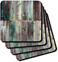 3dRose CST_213532_1 Photograph of Turquoise and Brown Distressed Wood Soft Coasters (Set of 4)