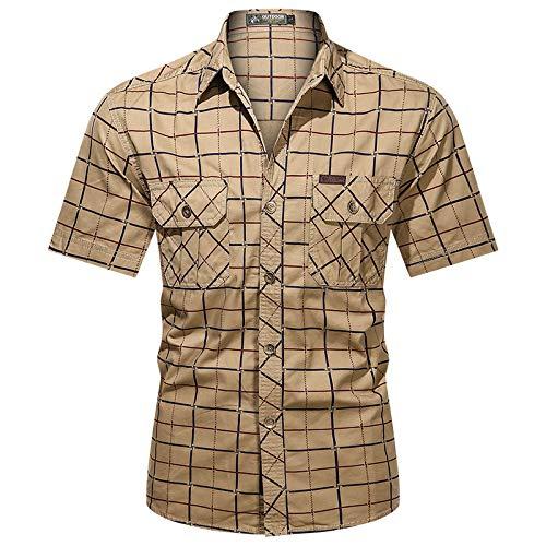 Camisa de Carga a Cuadros para Hombre, Bolsillo de Empalme a la Moda, Tendencia de Talla Grande, Informal, Informal, para Acampar al Aire Libre, Camisa básica de Manga Corta L