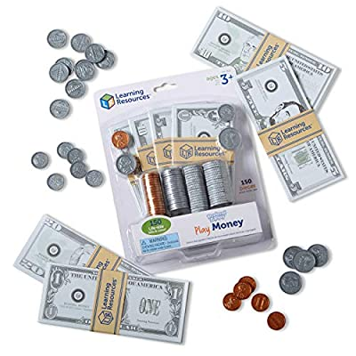 Learning Resources Pretend & Play, Play Money for Kids, Counting, Math, Currency, 150 Pieces, Ages 3+ from Learning Resources