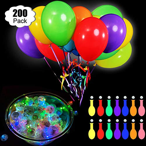 Sumind 200 LED Leucht Ballon Set enthält 100 Stück LED Ballon Lichter, Rundes Mini Ballon Licht und 100 Ballon, 12 Zoll für Papier Laternen Luftballon Lichter im Dunkeln Leuchten Dekor