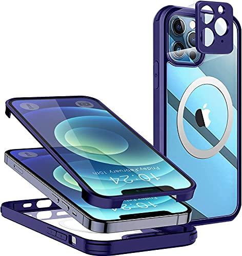 Cover per iPhone 12 Pro Max Mag-Safe, 360 Integrale Temperato Vetro Custodia, Antiurto Trasparente Bumper TPU Cover con Protezione dello Schermo e Della Fotocamera Case per iPhone 12 Pro Max