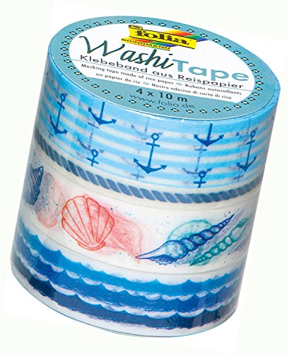folia 26423 - Washi Tape, Klebeband aus Reispapier, 4er Set  - ideal zum Verzieren und Dekorieren