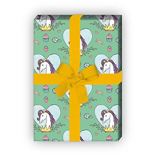 Kartenkaufrausch meisjes cadeaupapier set met paard in hart met kroon voor leuke cadeauverpakking, designpapier, scrapbooking 32 x 48 cm, decoratief papier, inpakpapier op groen