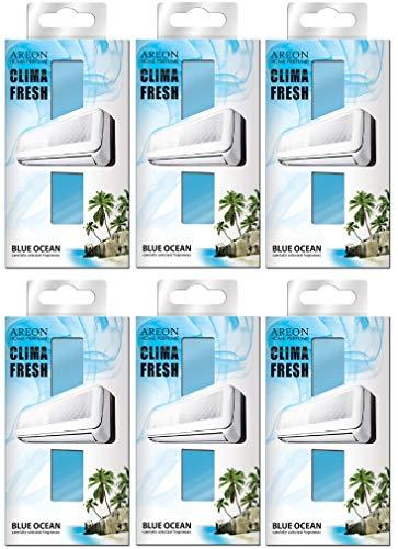 Areon Clima Fresh Ambientador Océano Azul Casa Aire Acondicionado Original Perfume Hogar Salón Habitación Oficina Tienda Duradero Moderno Olor ( Blue Ocean Pack de 6 )