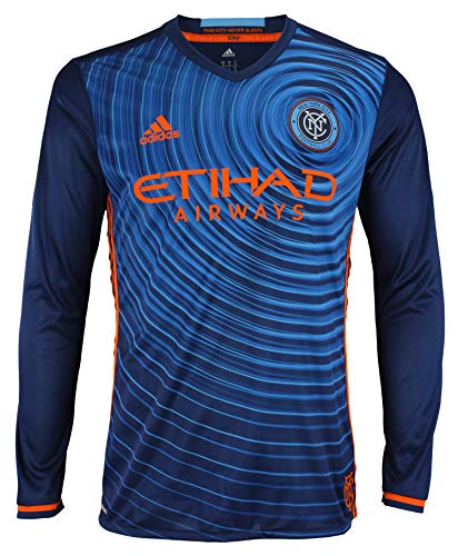 adidas Men's MLS Cllimacool Authentic Long Sleeve Jersey, New York City FC Large