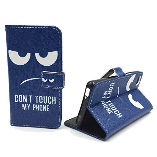 König Design Handyhülle Kompatibel mit ZTE Nubia Z9 Mini Handytasche Schutzhülle Tasche Flip Hülle mit Kreditkartenfächern - Don't Touch My Phone Weiß Dunkelblau