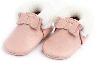 Freshly Picked - Soft Sole Leather Shearling Bow Moccasins - Baby Girl Shoes - Infant Sizes 1-5 - Multiple Colors