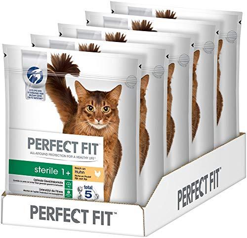 Perfect Fit Katzenfutter Trockenfutter Pro-Sterile für sterilisierte/ kastrierte Katzen Adult 1+ Reich an Huhn, 5 Beutel (5 x 750g)