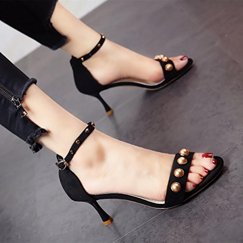 YMFIE Sommer Ausgesetzt Toe Metall Niet High Heel Schuhe Lady Fashion Schuhe