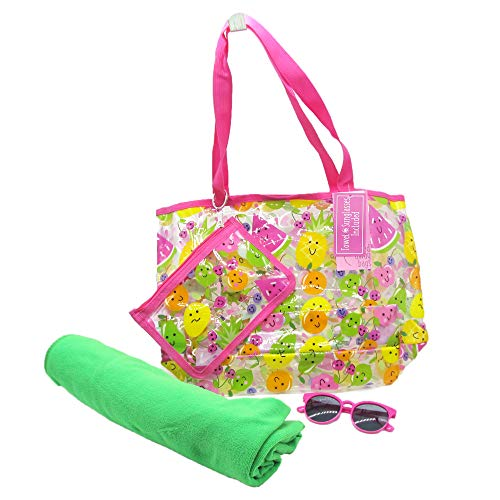 Carried Away Bags Graphic Designed Tote Bag Set Comes with Pouch, Kids Sunglass and Towel Easy Storage Holder with Shoulder Straps – For Pool Beach Vacation and Travel – Fruit