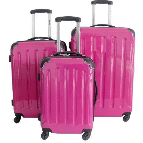3-teiliges Polycarbonat-Trolley-Koffer-Set in Pink