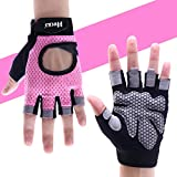 Hykes Gym Gloves for Weight Lifting Crossfit Fitness Workout Exercise Hand Grips for Women (Medium, Pink)