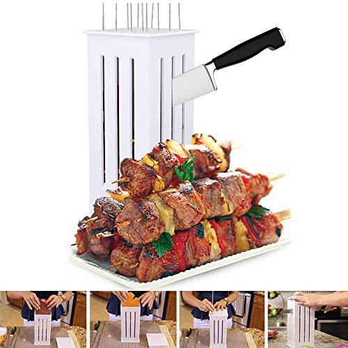 51dq7P8iaBL - Wghz Grillspieße Kebab Maker, 16-Loch-Brochettenschneider, Grillgabeln Grillzubehör, Fleischbroschetten-Spießmaschine, mit einigen Stöcken