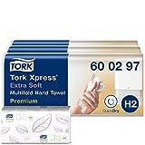 Tork Xpress extra weiche Multifold Papierhandtücher 600297 (H2 Premium Falthandtücher für Handtuchspender - extra weich und saugfähig, 2-lagig) weiß, 21 x 100 Tücher -