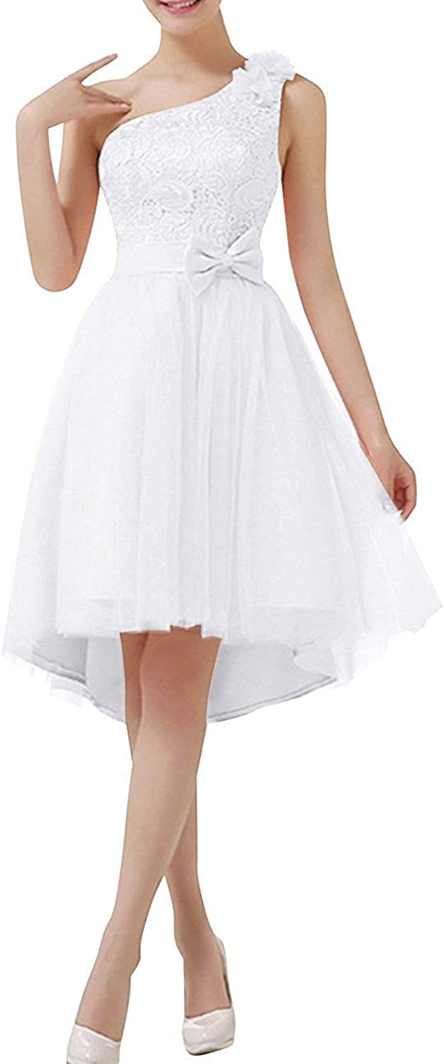 Macria Women's One Shoulder Short Lace Prom Homecoming Bridesmaid Dress Lace Up