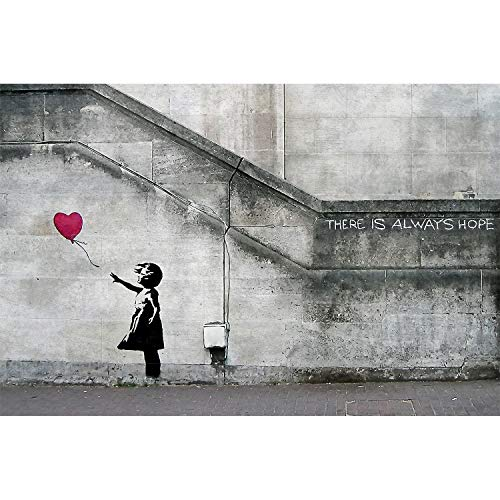 GREAT ART Fototapete – Banksy Street Art Graffiti – Wandbild Wand Dekoration Banksy Hope Balloon Girl Stencil Pop Art Gemälde Bild Wallpaper Foto-Tapete Wandtapete Poster (210 x 140 cm)