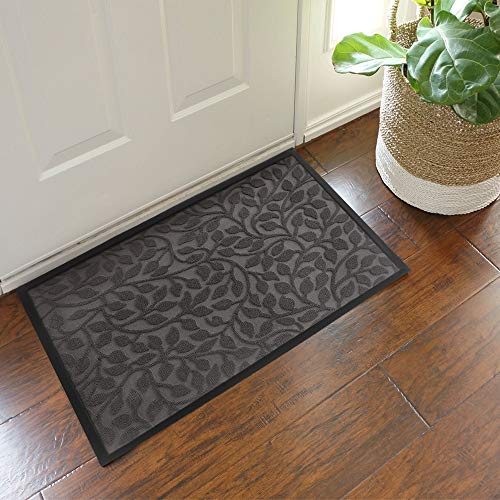 Aucuda Durable Indoor Outdoor Door Mat for Patio,18x30 in, Outside Welcome Mat-Fall Door Mat Outdoor-18x30 Inch,Front Door Mat Rug,Doormats for Entrance Way,Non Slip Waterproof,Grey Leaf Design