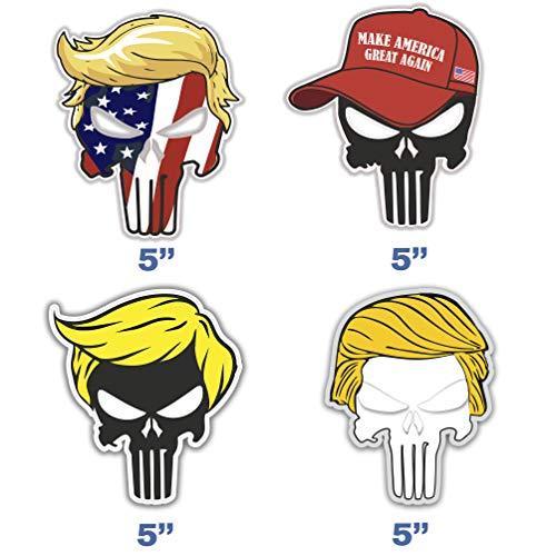 Set of 4 Trump Skull Sticker for Car Window Laptop Auto Truck Vinyl Donald Trump Decal Jeep Motorcycle Helmet 5'