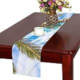 JEOLVP Tropical Resort México Riviera Maya Table Runner, Kitchen Dining Table Runner 16 X 72 Inch para cenas, Eventos, decoración
