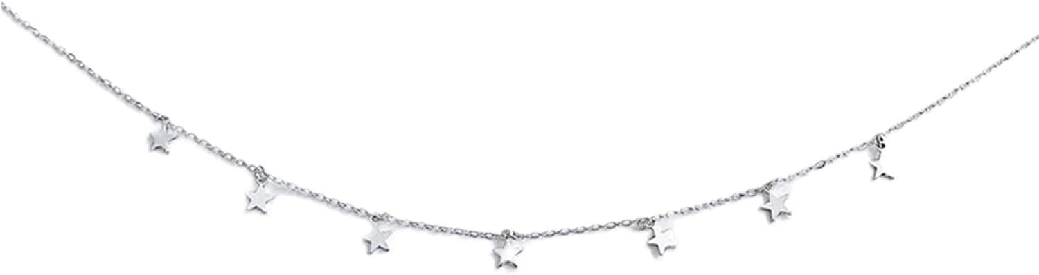 Necklace, Women Fashion Five-pointed Stars Pendant Charm Necklace Chain Choker Jewelry Gift for Women Girls Teens