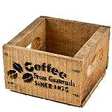 Dadeldo Holzkiste Coffee Kaffee Design Motiv Vintage-Used Design 10x14x15cm braun Weinkisten Landhaus Kolonial