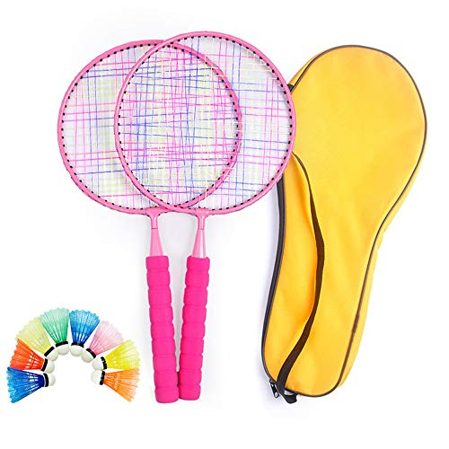 Badminton-Schläger-Set für Kinder, Federbälle, Schläger, leichte Tragetasche, Kleinkind, Junior, professionelle Anfänger, Indoor/Outdoor, Sport-Spiel (Farbe: Pink)