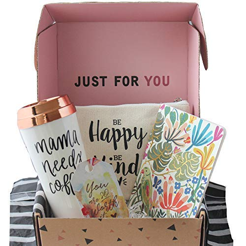 Special Birthday Womens Gift Basket Box Set for Mom- With a Mom Coffee Travel Mug, Fancy Notebook,Spacious makeup bag- Best Gifts For Moms (Same Day Delivery Gift Baskets For Her)
