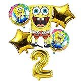 LIZHIOO 6 Unids Globos de Bob Esponja de Cumpleaños 3D Set Suministros de Fiesta Globos Decoración de Bebé Decoración de Fiesta Infantil Globos de Bob Esponja Helio (Color : 2)