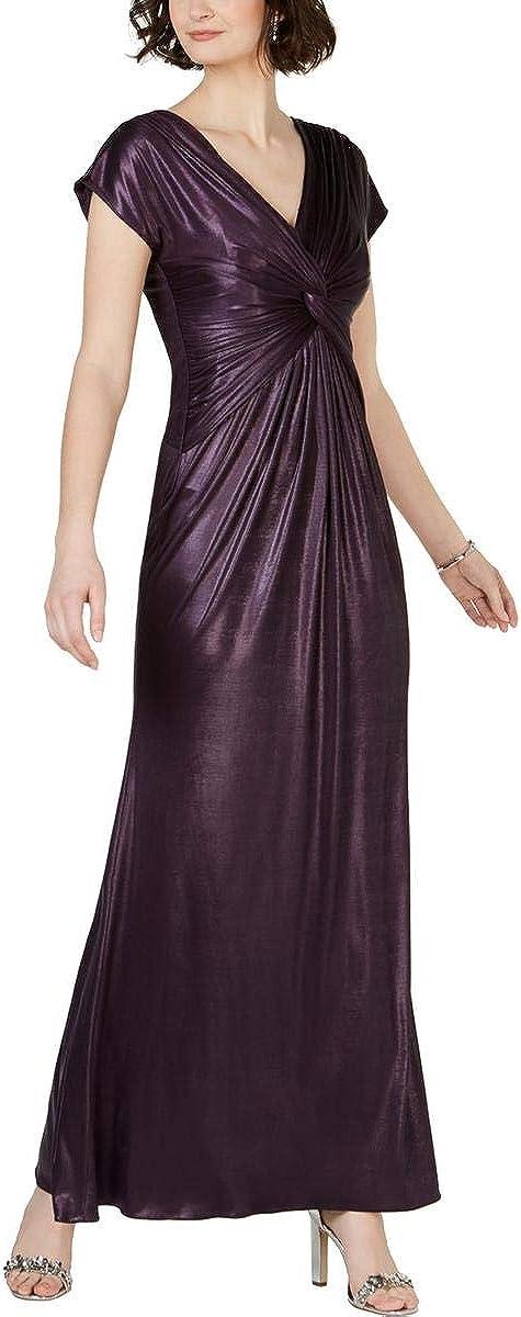 ADRIANNA PAPELL Women's Metallic Twist Cap-sleeve Gown Dress