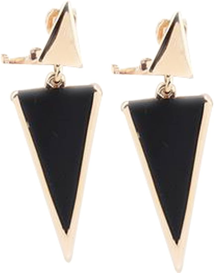CNCbetter Women Fashion Jewelry Black Triangle Colorful Charms U Shaped Back On Clip Earring
