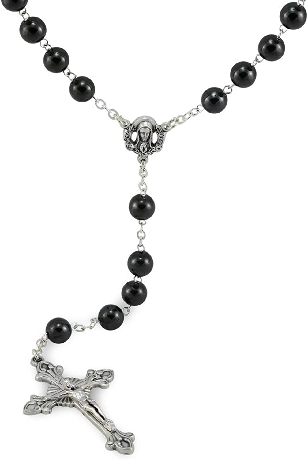 Hematite Beads pinkry with Sacred Heart of Mary Center