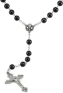 Hematite Rosary Black Stone Beads with Catholic Sacred Heart of Mary Center