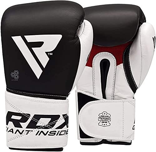 RDX Guantes de Boxeo para Entrenamiento y Muay Thai   Cuero Vacuno Mitones para Sparring, Kick Boxing   Boxing Gloves para Saco Boxeo, Combate Training