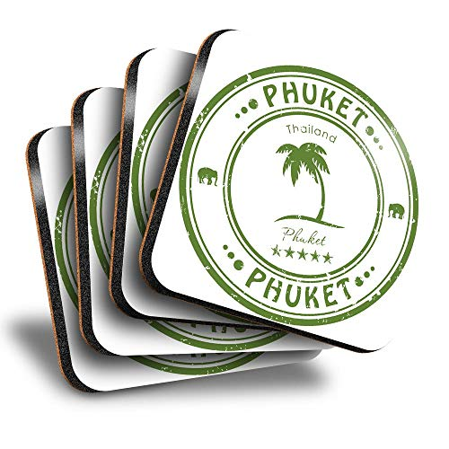 Destination Vinyl ltd Great Posavasos (juego de 4) cuadrados – Phuket Tailandia Tailandia sello de viaje bebida brillante posavasos   protección de mesa para cualquier tipo de mesa #4589
