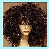 NueiVeiuo Twist Afro Curly para mujeres negras, pelucas rizadas de longitud media, rizado de onda profunda con flequillo, fibra resistente al calor, color marrón de aspecto natural diario