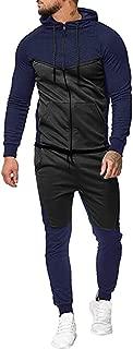 Mens Autumn Splicing Zipper Hooded Sweatshirt Top Pant Sets Sport Suit Tracksuit