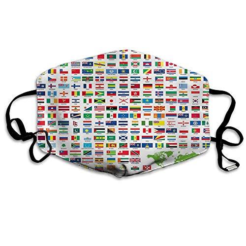 Atmungsaktive Premium Gesichtsschutzhülle,Flagge Gesichtsdekorationen Weltland Flaggen Amerika Europa Asien Afrika Staaten Frauen Männer Anti Wind Staubschutzschutzabdeckung Für Skiradfahren Camping