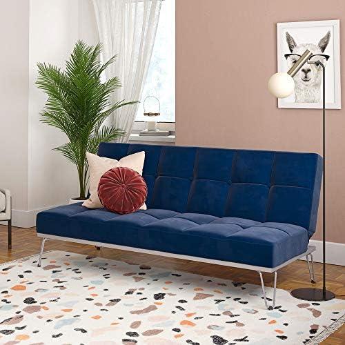 Novogratz Elle Convertible Sofa Bed and Couch Futon Blue product image