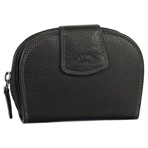 Leder Damen Geldbörse Portemonnaie Geldbeutel mit Reißverschluss 13,5 cm 70538 Farbe schwarz