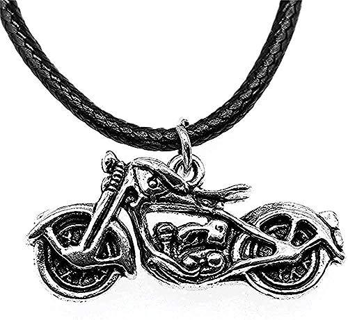 ZPPYMXGZ Co.,ltd Collar Collar de Color Plata Antiguo 34X16X8Mm Collar de Cadena con Colgante de Cuero de Motocicleta 3D para Mujer Moda Vintage