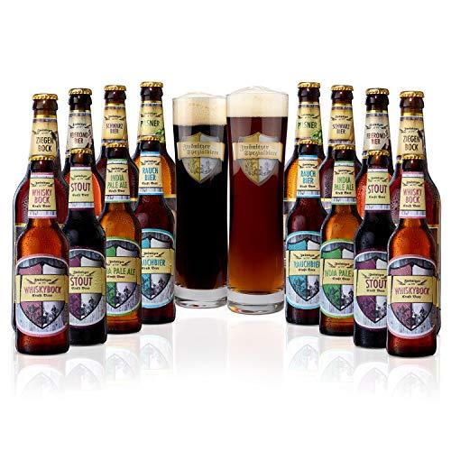 Brauerei Zwönitz ProBierPaket/Bier Set mit 16 Bieren + 2 Gläsern/Beer Tasting Box/verschiedene Biersorten zum Verschenken/Bierverkostung Set mit Craft Beer/je 8 × 0,33 l + 0,5 l Flaschen